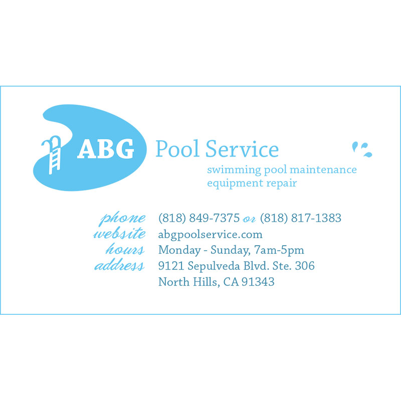 ABG Pool Service Business Card Design by Arpidesign.com in Glendale, CA