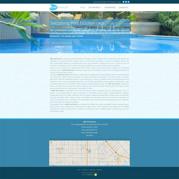 ABGpoolservice.com Website Design by ArpiDesign.com in Glendale, CA