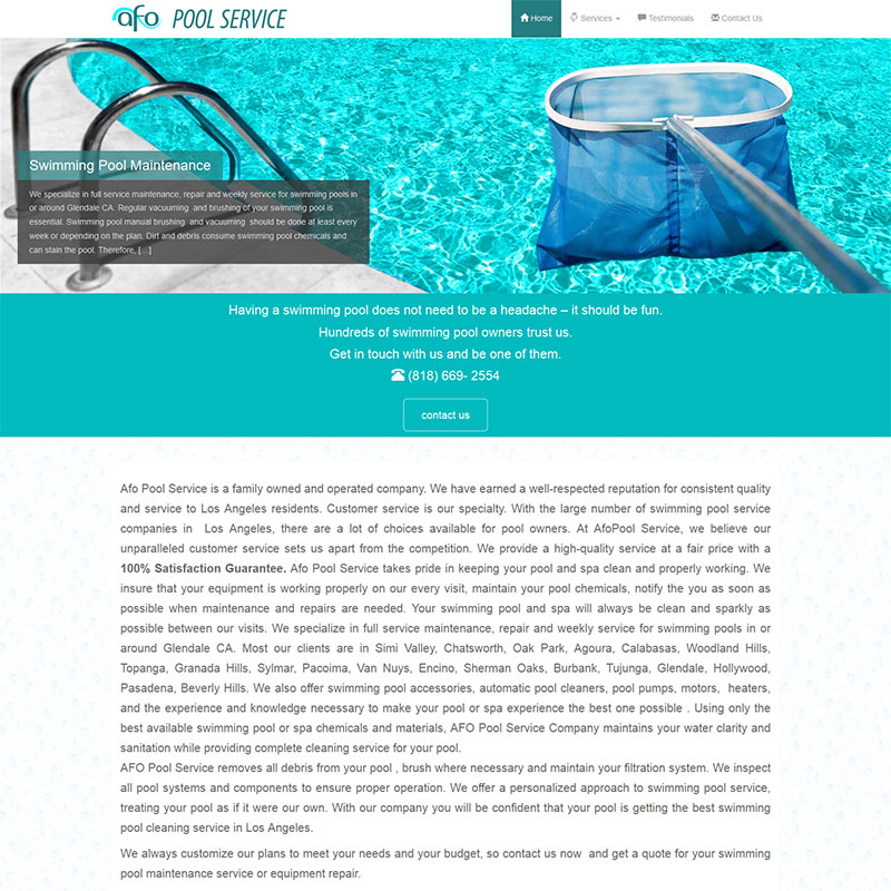 AFO Pool Service Website Design and Web Development
