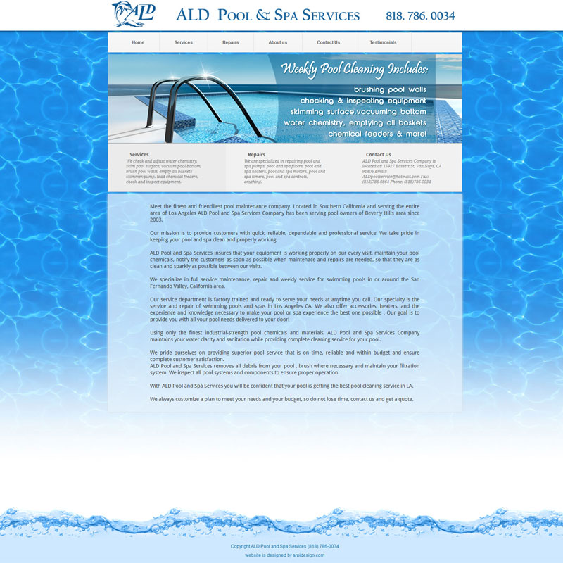 Web Design for ALDPoolService.com