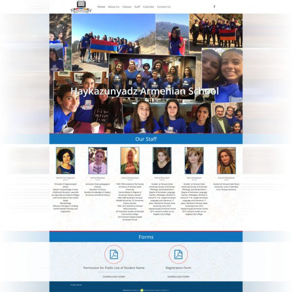 Armenian School Website Design in Glendale
