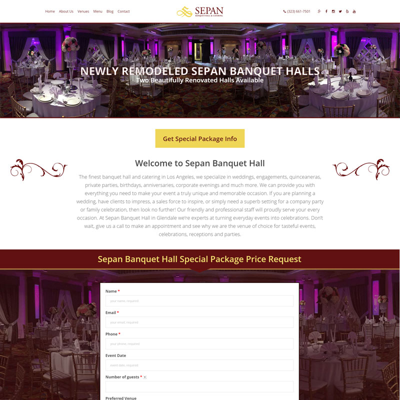Banquet Hall Website Design and Online Marketing for Sepan Hall