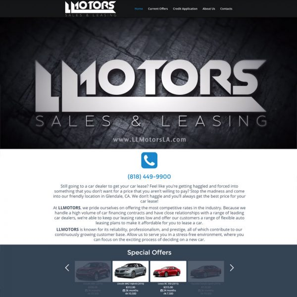 Car Dealer Website Design for LLMotors in Glendale CA