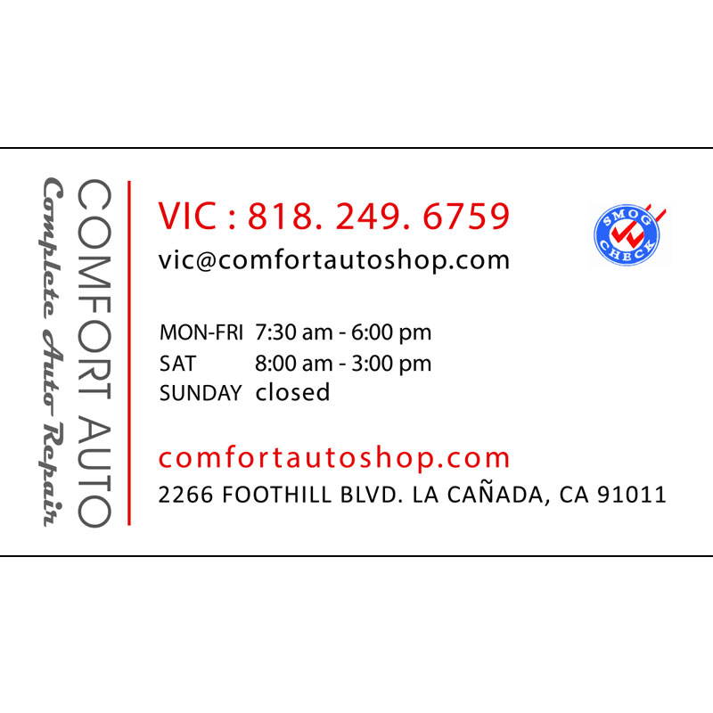 The back side of the business card for Comfort Auto