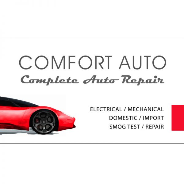The front side of the business card for Comfort Auto