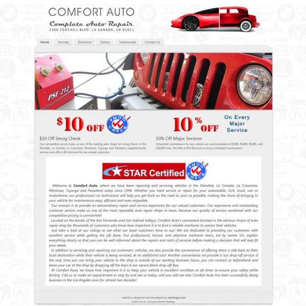Web Design for ComfortAutoShop.com