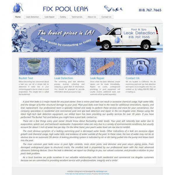 Web Design for FixPoolLeak.com