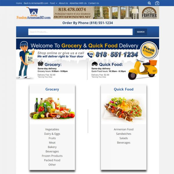Food Delivery Website Design for FoodonArmenianBD.com