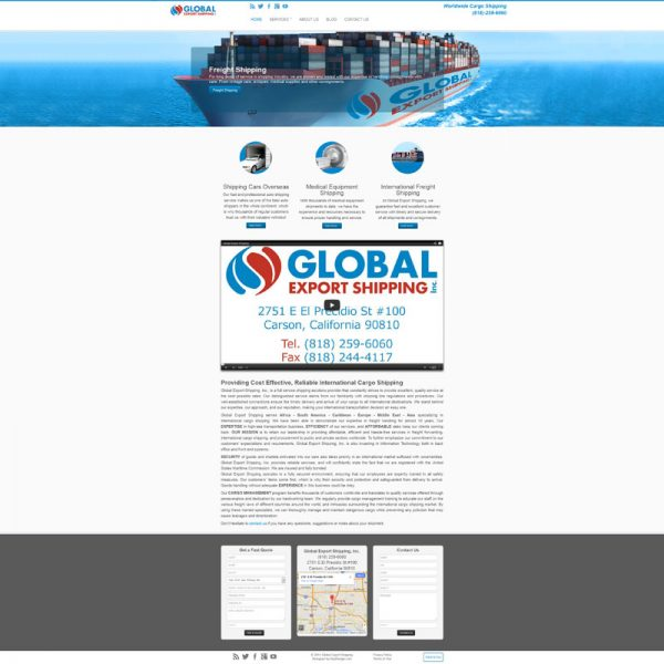 Global Export Shipping Website Redesign and Online Marketing