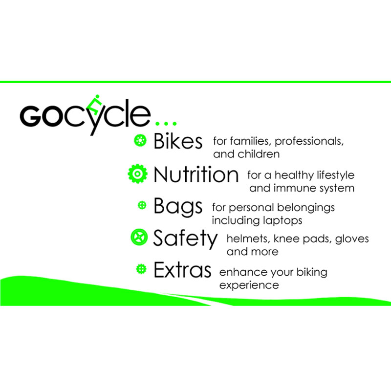 The front side of GoCycle's business card