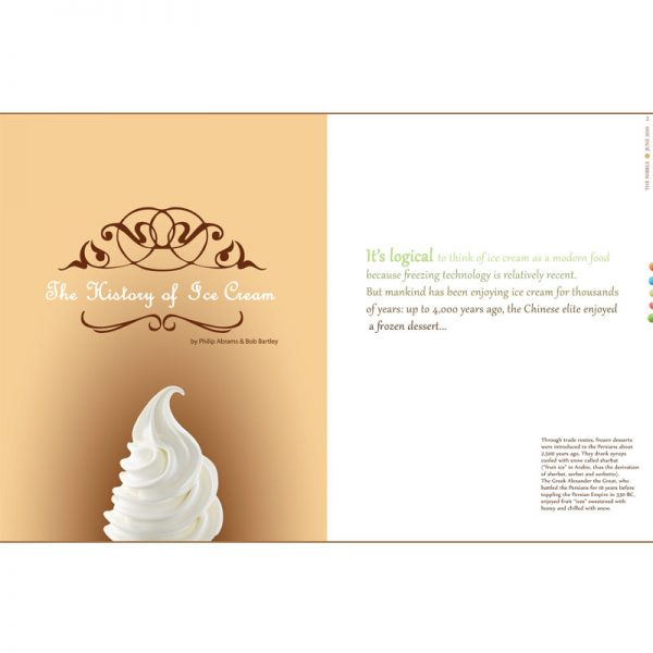 First two pages of Ice Cream magazine article layout design