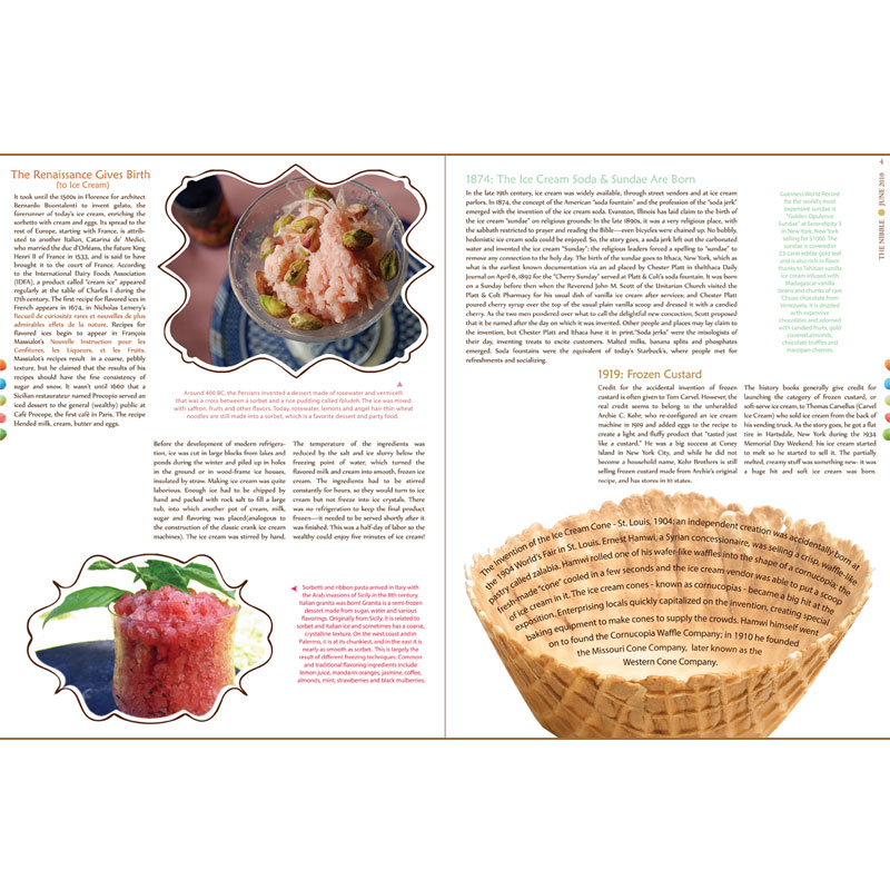 Second two pages of Ice Cream magazine article layout design