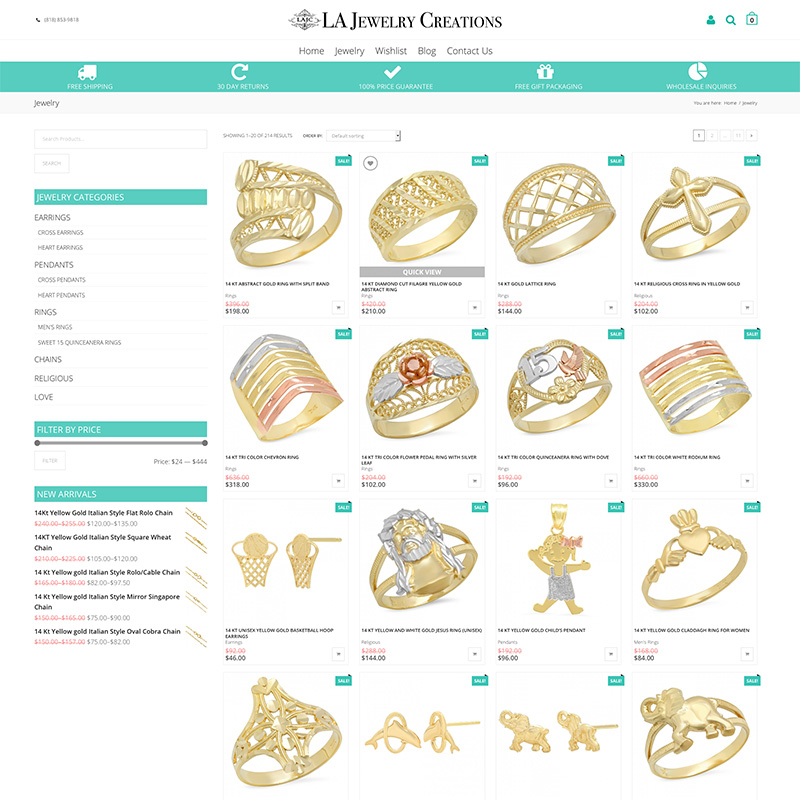 Jewelry Website Redesign and Search Engine Optimization in Los Angeles