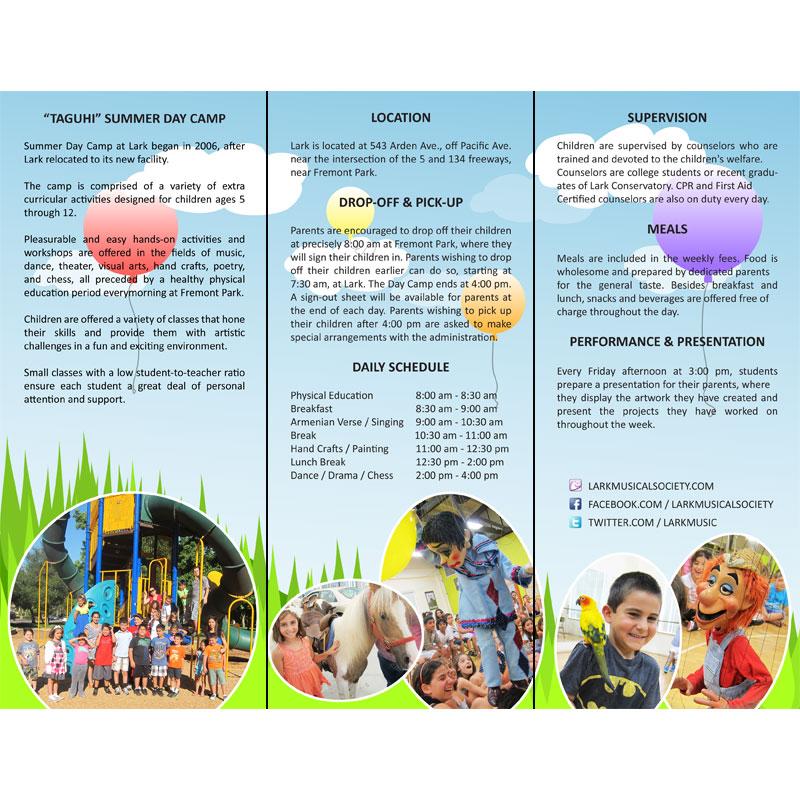 Lark Summer Day Camp Brochure Inside Panels