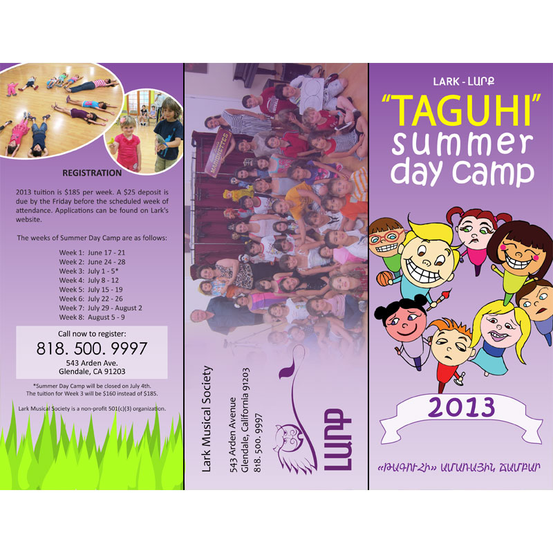 Lark Summer Day Camp Brochure Outside Panels