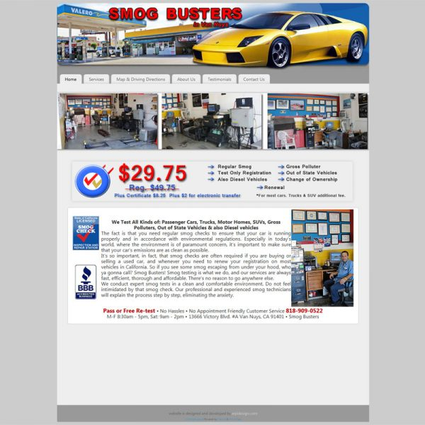 Web Design for LASmogBusters.com