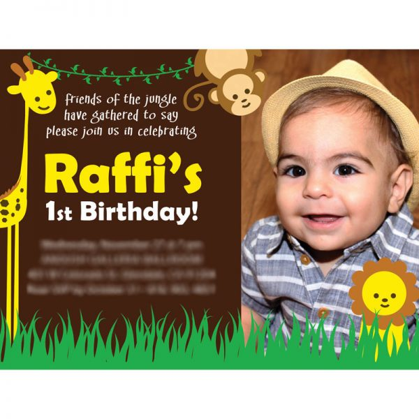Raffi's 1st Birthday Card Design