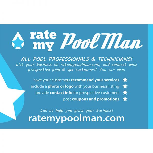 Pool Professional Postcard Mailer Design for RateMyPoolMan.com