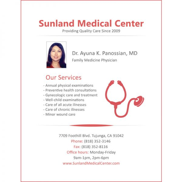 Sunland Medical Center Flyer Design by ArpiDesign.com in Glendale CA