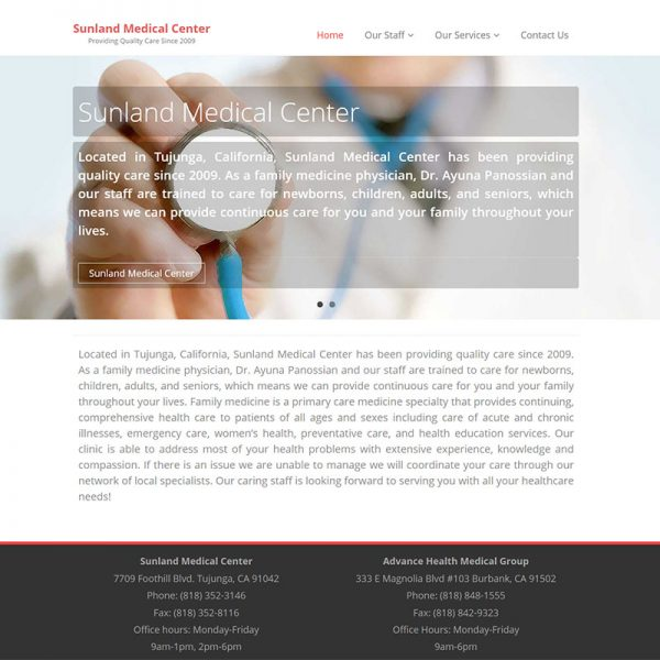 SunlandMedicalCenter.com Website Design