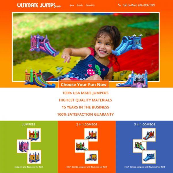 UltimateJumps.com Party Rental Website Design