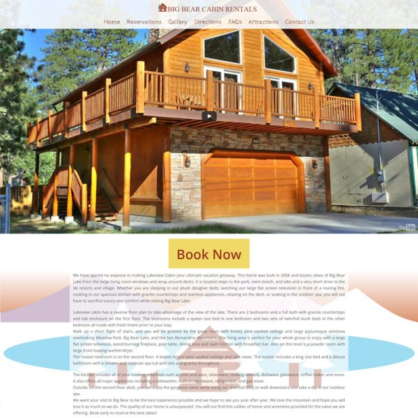 Vacation Cabin Rental Website Design in Los Angeles