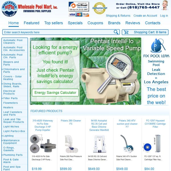 WholesalePoolMart.com Website Design and Web Development